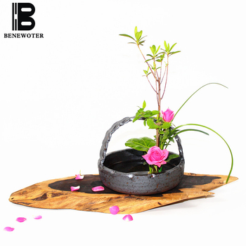 Vintage Handmade Coarse Pottery Flower Basket Tabletop Flower Pot Vase Zen Ceremony Ikebana Tool Ceramic Containers Home Decor