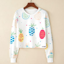 Hitz Europe - color printing head set of pineapple ladies fashion long sleeved sweatshirts femela hoodies(China)