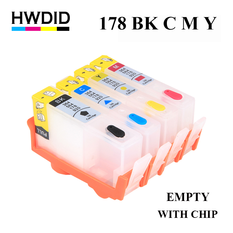 HWDID 178 Refillable Ink Cartridge Replacement For HP 178 for Photosmart C5380 C5383 C6380 C6383 D5460 D5463 C309a C309c C310c 2pcs for hp 564 564xl black printer ink cartridge for photosmart 7510 b8500 b8550 c5380 c6375 c6380 inkjet printer free shipping