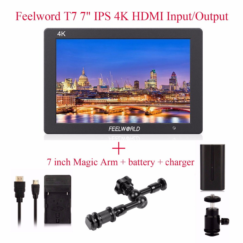 Feelworld T7 4K HDMI Input/Output On-Camera Monitor Full HD 7IPS Screen Display Monitor + 7 inch Magic Arm + battery + charger