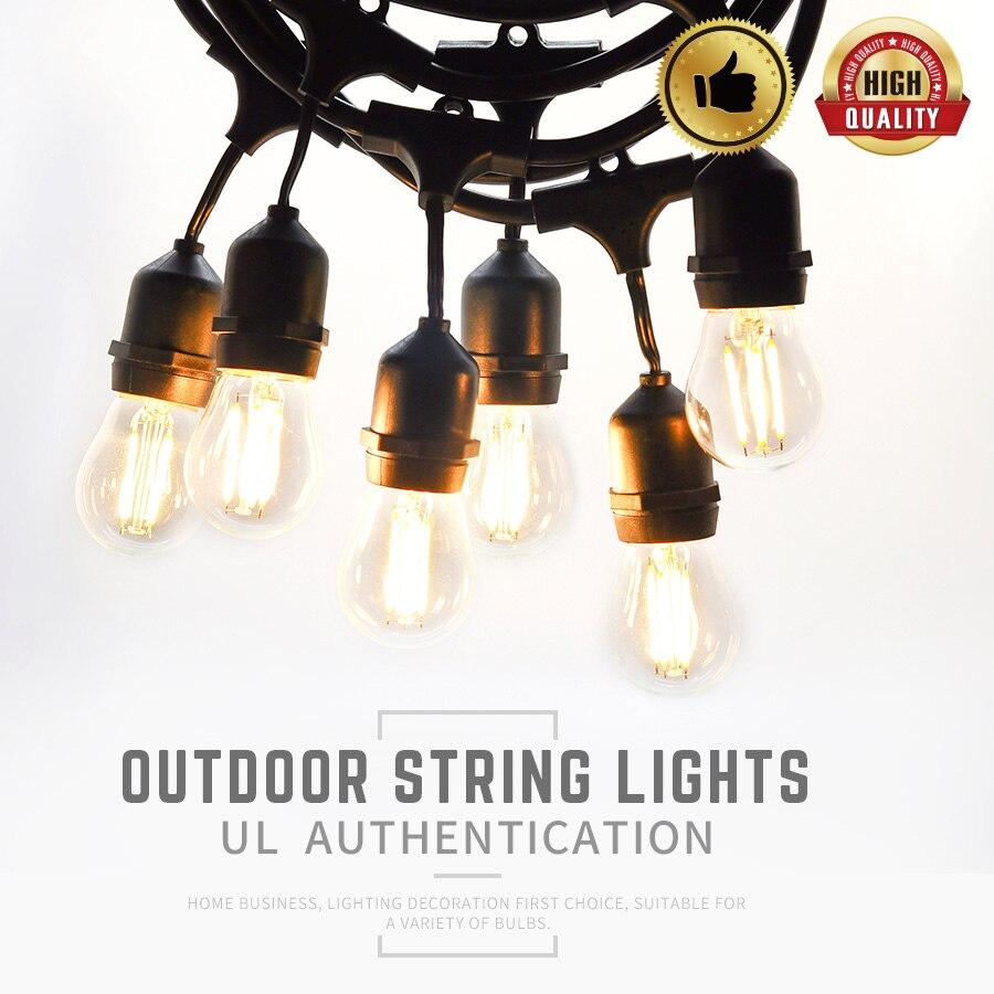 Outdoor LED String Light E27 Lighting String AC 110/220V 2700K Outdoor Holiday Lantern Bulb Warm White 15*2W Decoration Lights white 200 led white christmas ornamental string lights 4 5 meter 220v ac