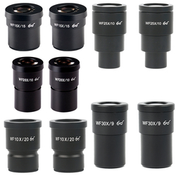 2 sztuk WF10X WF15X WF20X WF25X WF30X okular mikroskopu dla mikroskop stereo szerokie pole 20mm 15mm 10mm 9mm WF10X/20 wysoki widok