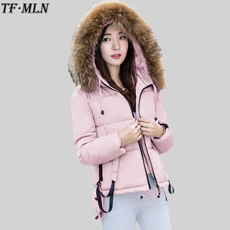Wadded Coat Winter Down Cotton Jacket Women Short Jacket Outwear 2017 Fashion Girls Padded Slim Hooded Parkas Fur Collar Coat