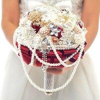 Bridal Wedding Bouquet Flower Beading Crystal Pearls Artificial Silk Flower handmade Bridal Flowers Bridesmaid Flower Bouquet