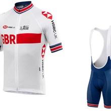 Великобритания Велоспорт Короткий рукав Велоспорт Джерси Лето Велоспорт одежда ROPA CICLISMO+ нагрудник шорты 3D гелевая накладка с POWER BAND