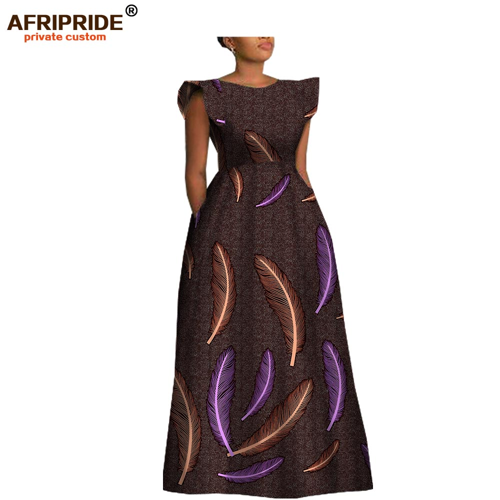 2019 spring women maxi party dress AFRIPRIDE customized short sleeve o neck floor length women A