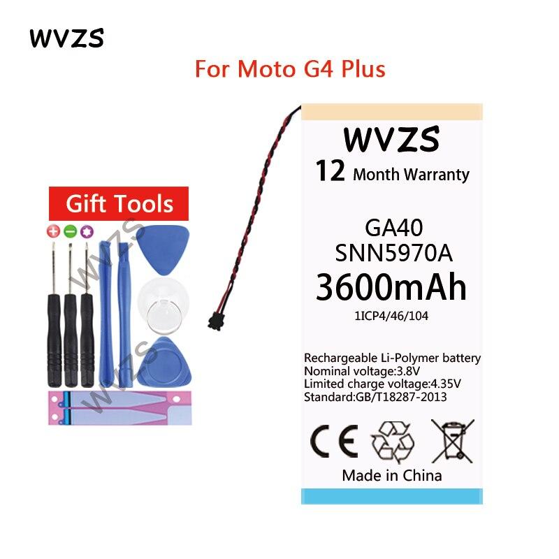 wvzs 3600mAh Li-Polymer Battery GA40 For Motorola Moto G4 Plus XT1625 XT1622 XT1644 XT1643 SNN5970A replacement Batteries