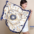 90cm*90cm H key compass simulation trace towel sunscreen shawl silk scarf