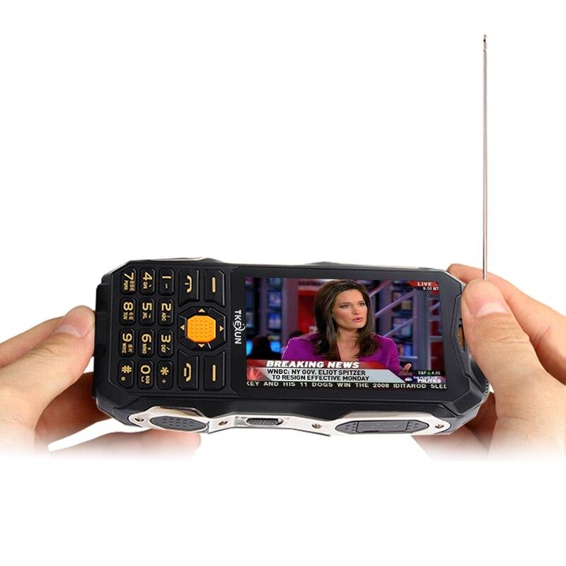 TKEXUN Q8 Analog TV power bank cellphone 3.5 handwriting touch screen dual SIM dual flashlight FM bluetooth mobile phone P037