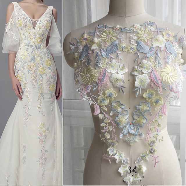 800dd652678ec US $8.2 |Flower Fairy Pink Blue Yellow Matching Lace Flower Embroidered DIY  Dress Flower Dance Performance Wedding Accessories 1Piar-in Lace from Home  ...