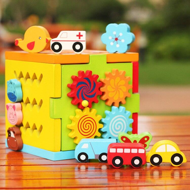 Les premiers enfants cognitifs multi-fonctionnels respectueux de l'environnement en bois Puzzle jouets géométriques coulissant Intelligence Box jouets