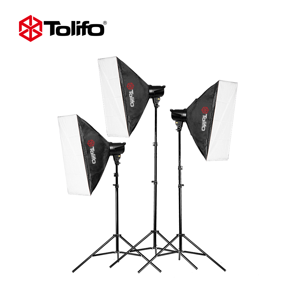 Tolifo Photo Studio Lighting Kit with 3*T-180B /3*Light Stand/3*Soft Box/1*Soft Umbrella/1*Carrying Bag/1*Honeycomb Cover and so cy photo stand kit 4pcs 40w led light 83cm studio white transparent umbrella 4 e27 socket 200cm stand umbrella lighting kits