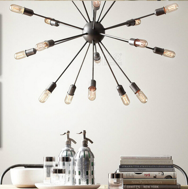 12 Head Loft Style Sputnik Chandelier American Warehouse Light Living Room Lights With Eedison Bulbs Diner