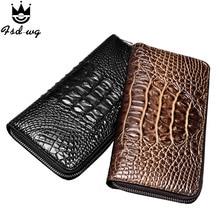 2016 3D croodile grain men wallets pu leather mens wallets men's long zipper clutch purse famous brand wallet  bag