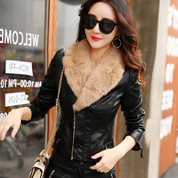 Winter Women Plus Velvet Short PU Faux Leather Jackets With Real Fur Collar Female Long Sleeve Turn down Collar Coats OL Jacket
