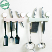 Kitchen Plastic Multifunction Knife Storage Rack Block Holder Cutlery 4 Hooks Hanger Wall Mounted Suction Cup