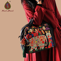 Naxi.Hani original handmade Cow leather women handbags Ethnic embroidery black genuine leather Inclined shoulder bags