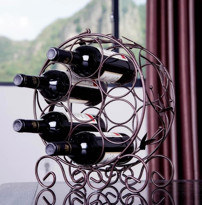 7 Bottles Red Wine Rack Wine Bottle Holder Iron Metal Wine