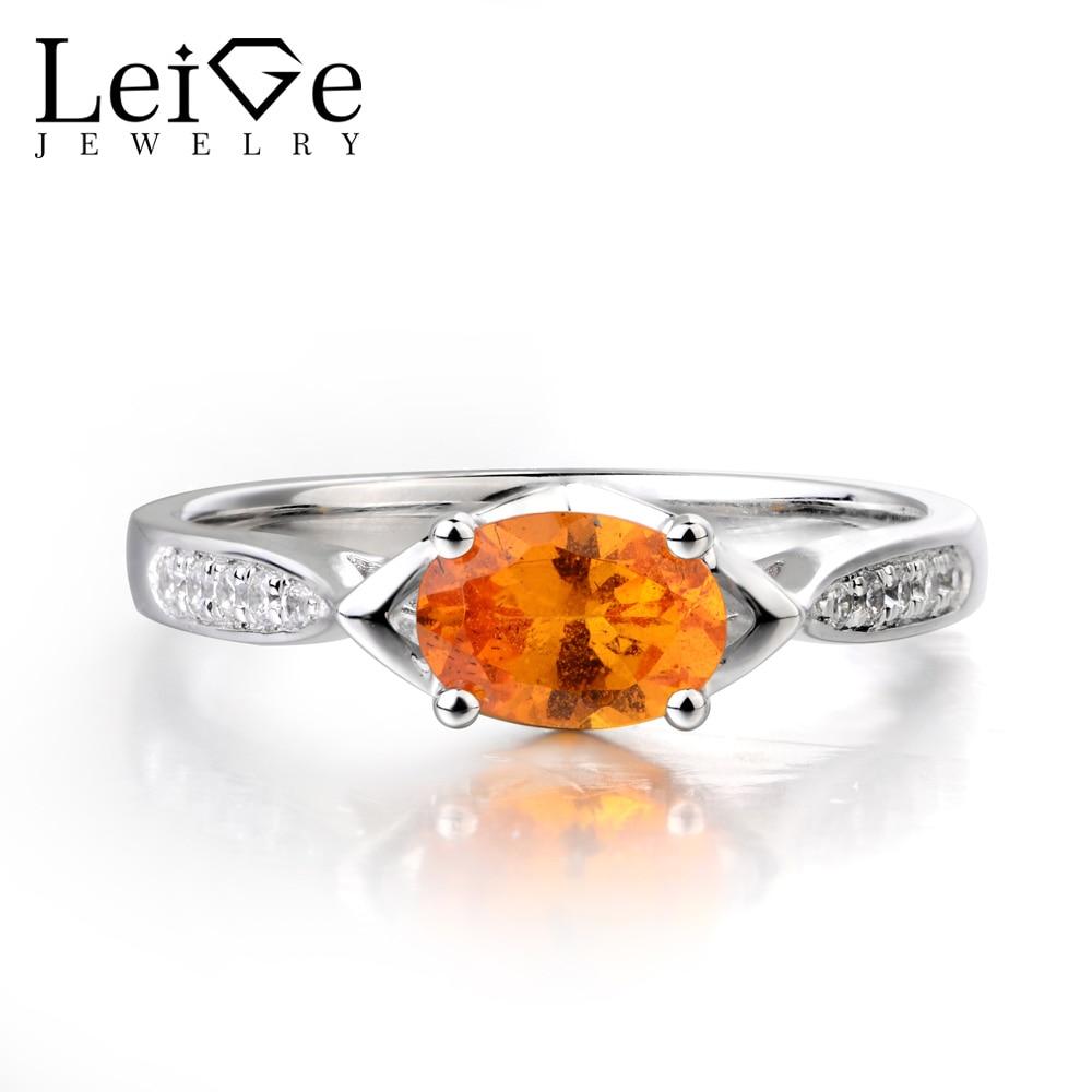 Leige Jewelry Natural Spessartite Garnet Ring Fanta Ring Orange Garnet Ring Wedding Ring Oval Cut Orange Gems Sterling Silver fanta