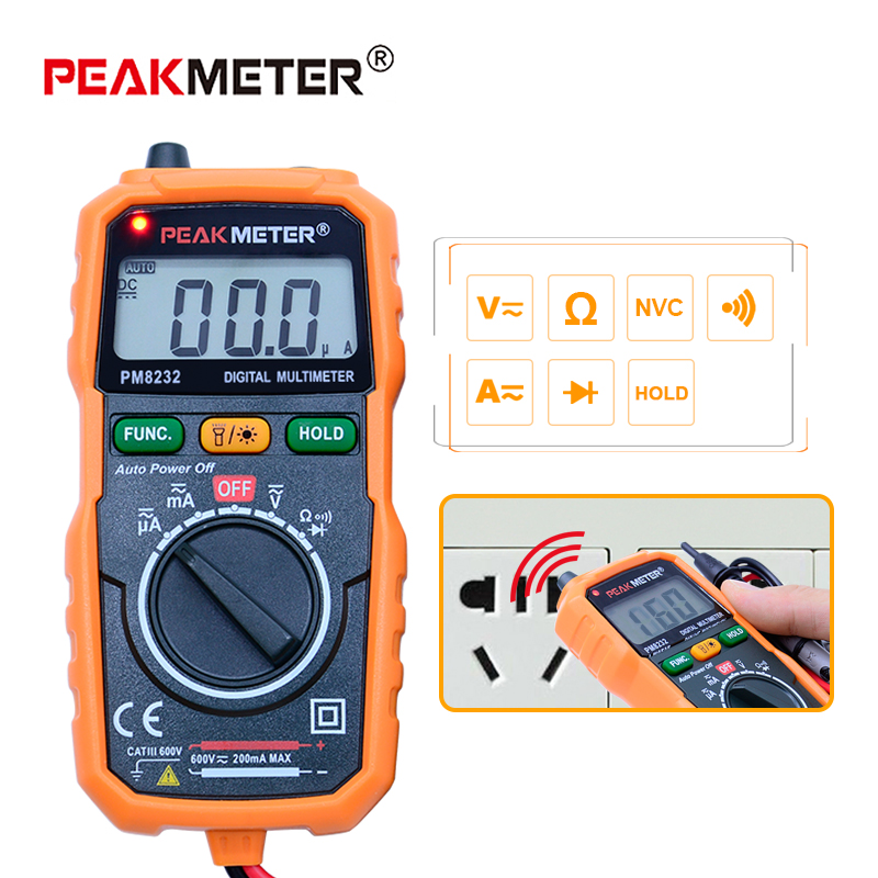 PEAKMETER MS8232 Senza contatto Multimetro Digitale DC/AC tester di tensione di corrente di Spegnimento automatico Multimetro Digitale Tester