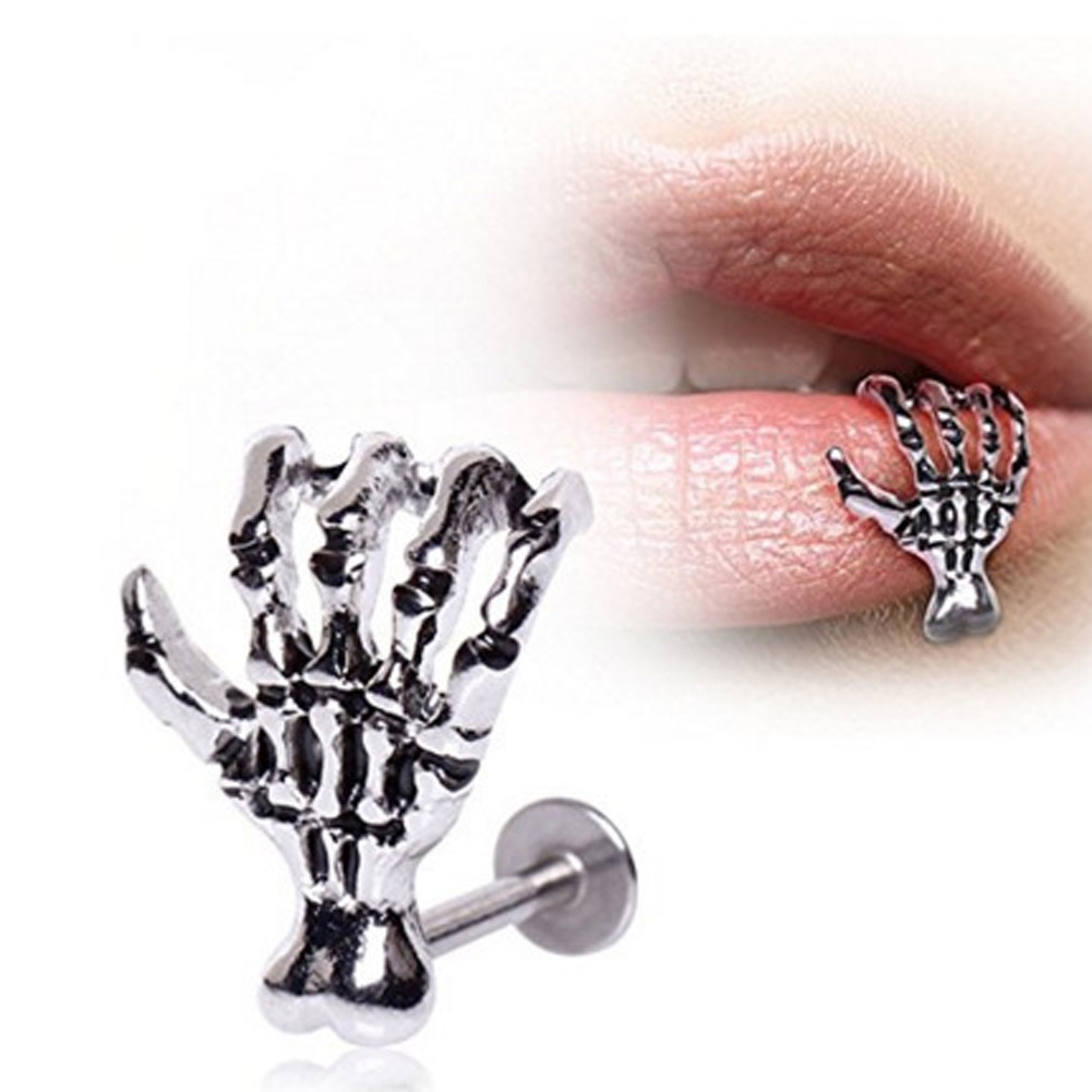 1 Piece Skull Hand Lip Piercing Jewelry Punk Labret Piercing Kylie Lip Tunnel Piercing Christmas Gift