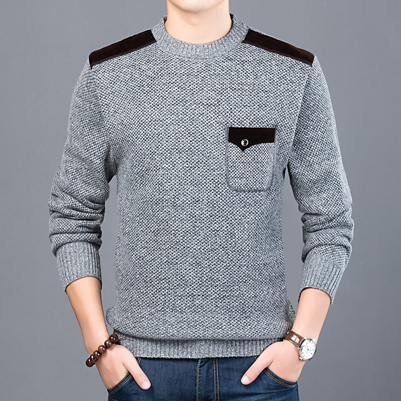 New Fashion Brand Sweater For Mens O-Neck Slim Fit Jumpers Knitting Solid Color Autumn Korean Style Casual Mens Clothes