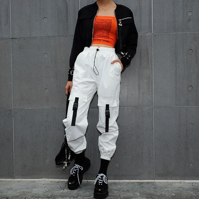 Rockmore Casual White Cargo   Pants   Women Hip Hop Streetwear Track Jogger   Capris   Elastic High Waist Trousers Female Sweatpants