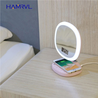 Make Up Tools Double sided Swivel Foldable LED USB Mirror Lamp Portable Makeup Touch Screen Table wireless charging Desk Home