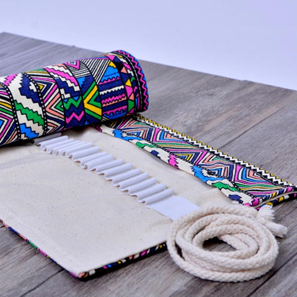 Artist Pencils Pouch Case Pencil Wrap Pen Box 36 Holes Pencil Case Canvas Roll Up Makeups Storage Bag