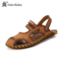 2017 New Men Sandals Top Quality Genuine Leather Men Summer Shoes Casual Outdoor Shoes Men Zapatillas Breathable Beach Sandals