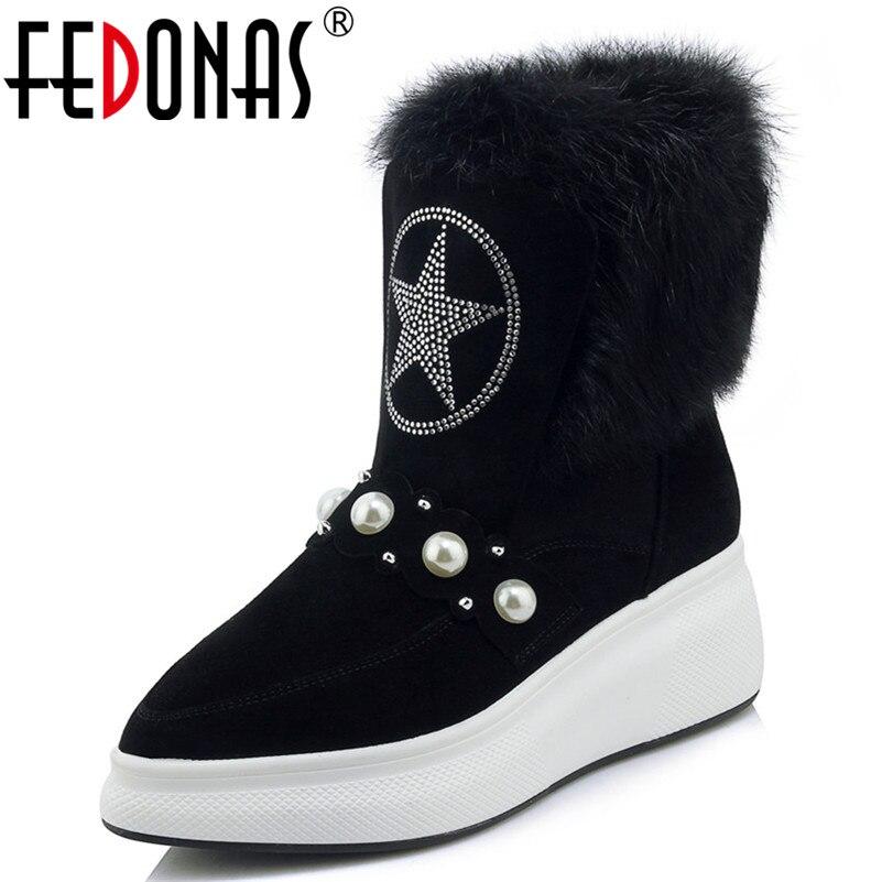 Fedonas da nuove comodi alti da donna donna neve tacchi cunei sera moda strass rilievo casual nero in donne scarpe stivali r0qrw5A4