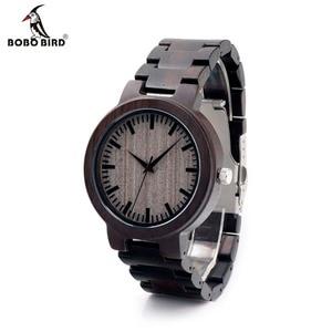 Image 1 - BOBOBIRD C30 Ebenholz Holz Uhren Für Herren Uhren Top marke Luxus Quarz Uhren Mit Geschenk Box