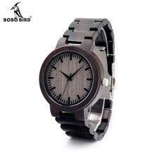 BOBOBIRD montres à Quartz pour hommes, marque de luxe, en bois débène, avec boîte cadeau