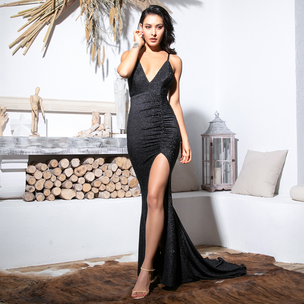 Love&Lemonade Sexy Black Deep V-Neck Cut Out Bodycon Shiny Elastic Fabric Maxi Dress LM81709-1 4