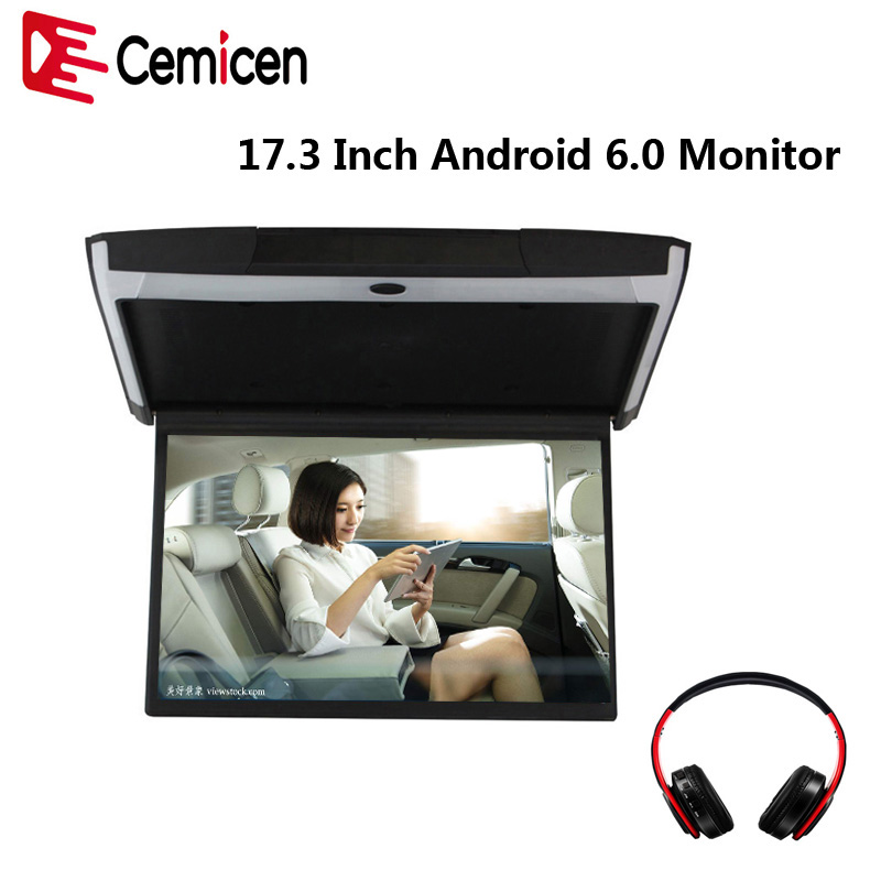 Cemicen 17 3 Inch Android 6 0 Car Monitor Ceiling Mount Roof 1080P Video IPS Screen