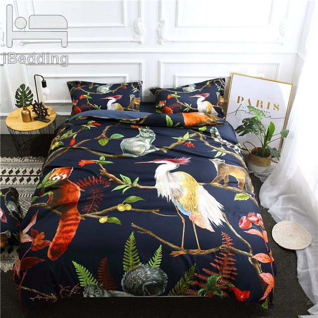 3Pcs/Set Animal forest Printed Duvet Cover Set 3D Bedding Sets Queen King Twin Size