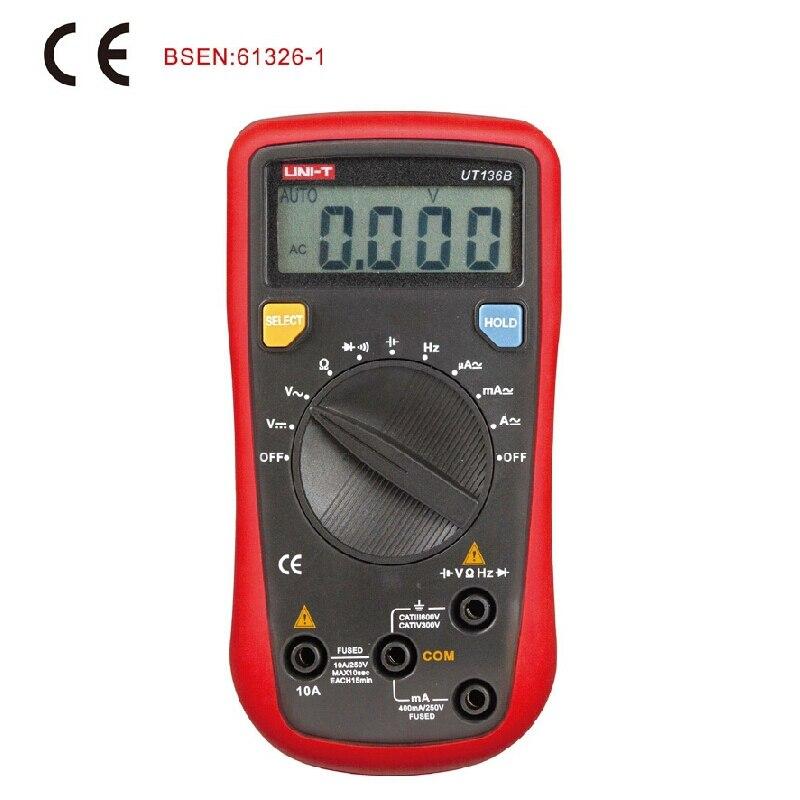 UNI T UT136B digitální multimetr 3999 počet DMM střídavý stejnosměrný voltmetr ampérmetr ohmmetr kondenzátor tester dioda uchování dat automatické vypnutí napájení