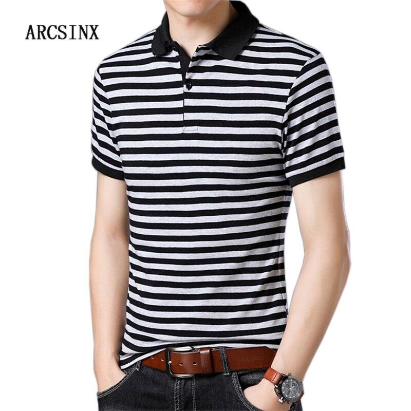 ARCSINX Striped Mens   Polo   Shirts Short Sleeve Cotton Camisa   Polo   Masculina Casual Slim Fit Man   Polos   Large Size 6XL 5XL 4XL 3XL