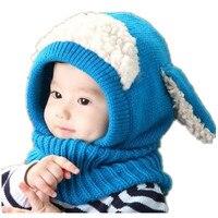 Hohe Qualität und Günstigen preis Baby Kleinkind Warme Mütze Winter Beanie Kapuzenschal Earflap Gestrickte Nette Kappe B0273