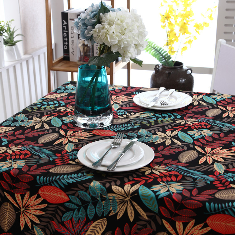 American style cotton thick canvas table cloth black leaves maple leaf table cloth