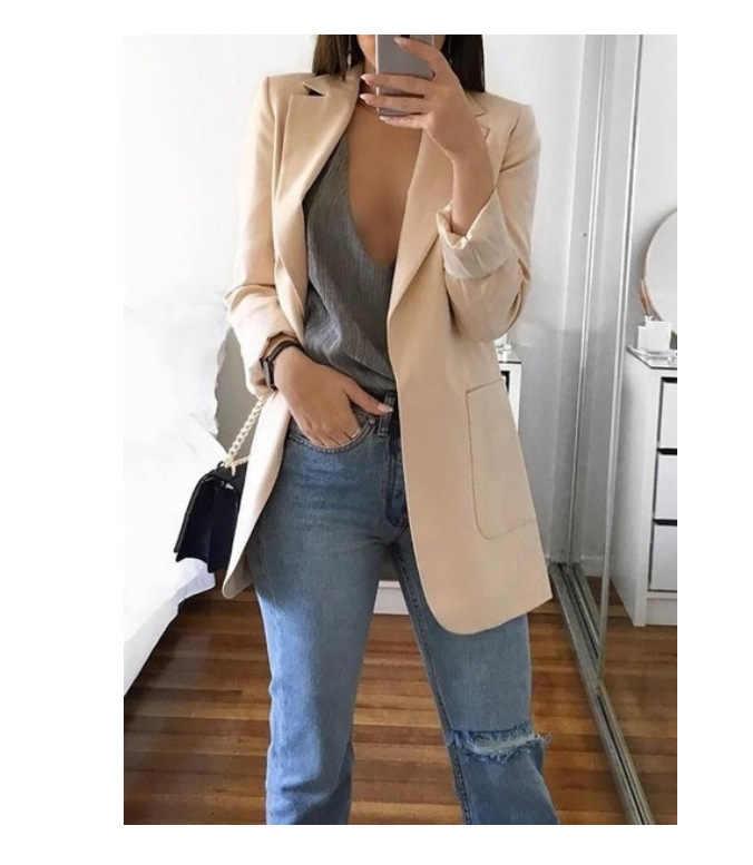 Для женщин деловой костюм для стройных куртка из однотонного черного цвета хаки цвет розовый, серый, синий Для женщин с длинным рукавом Повседневное Блейзер XXL, весна-осень, кардиган, пальто