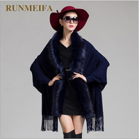 RUNMEIFA Faux Fur Tassel Cape Poncho Solid Coat Winter Fashion Knitted Cardigan Wool Cashmere Sweater Capes