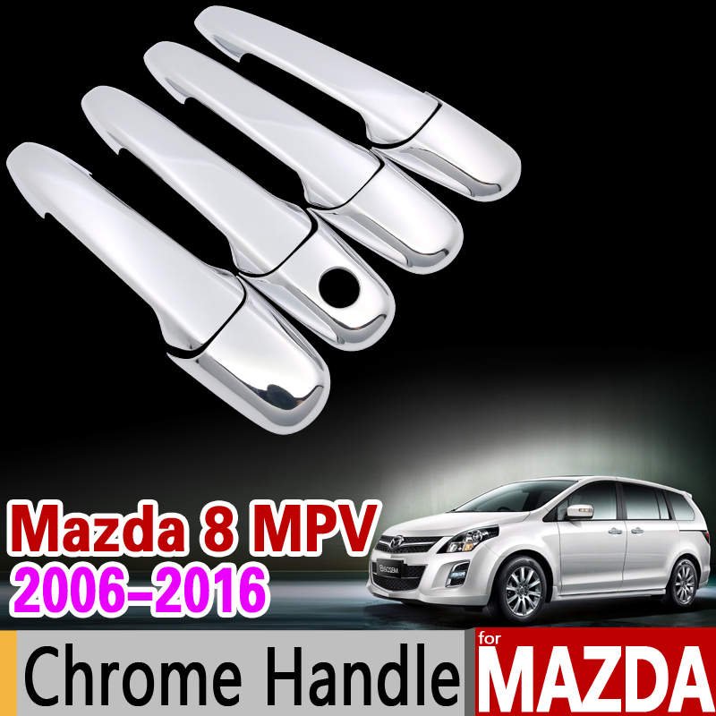 for Mazda 8 MPV 2006-2016 Chrome Handle Cover Trim Set Mazda8 2007 2009 2011 2012 2013 2015 Car Accessories Stickers Car Styling for suzuki splash 2007 2014 chrome handle cover trim set of 4door 2008 2009 2010 2011 2012 2013 accessories sticker car styling