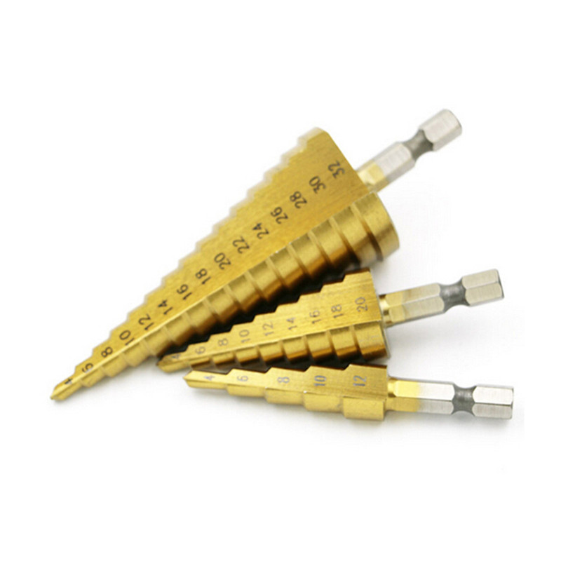 HSS 4241 Hex Titanium Pagoda step cone drill cutter 4-32mm 4-20mm 4-12mm for Metalworking wood drilling hot selling drill bit 3pcs hss 4241 step cone drill bit set 1 4 hex shank titanium coated wood hole cutter 6 9 13 steps for power tools