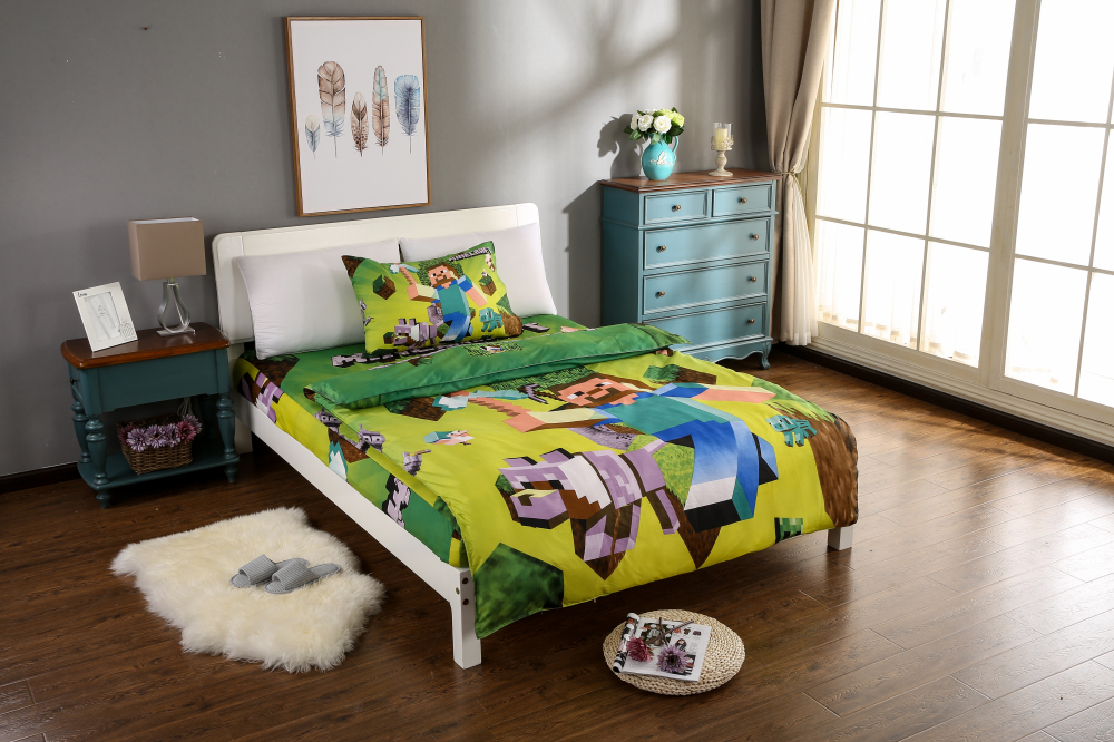 3pcs font b minecraft b font bedding sets 100 cotton kids bed linen with duvet cover