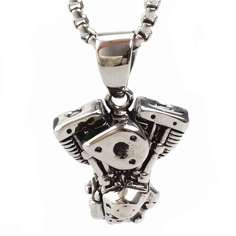 Motor Necklaces Engine Pendant Stainless Steel Male Titanium Personality Punk Jewelry 23 inch chain necklace Fathers day Gift stylish pu leather chain titanium steel pendant punk necklace silver black