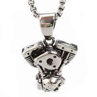 Motor motor kolye paslanmaz çelik kolye erkekler titanium kişilik punk takı ile 23 inç zincir kolye