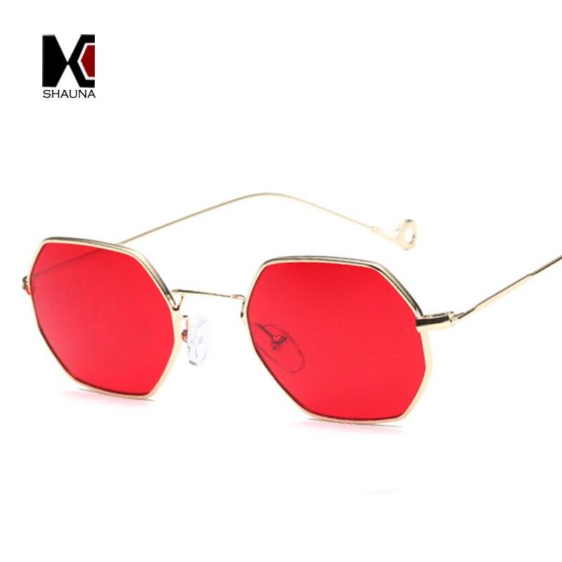 SHAUNA 12 Farben 2017 Trend Frauen Kleine Quadrat Sonnenbrille Art Und Metallrahmen Farbton Objektiv Gläser