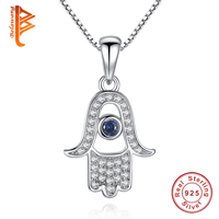 BELAWANG Hand Of Fatima Evil Eye Pendant Necklace 925 Sterling Silver Crystal Necklace Fashion Palm Hamsa