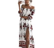 2017 Summer Women's Print Slash Neck Off Shoulder Bohemian Beach Dress Casual Long Maxi High Waist Women Split Dresses Clothing